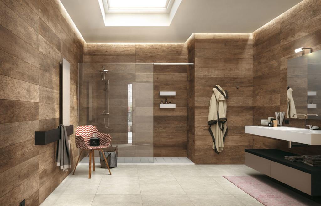 Puukuvioinen Noon-laatta tuo kylpyhuoneeseen lämmintä tunnelmaa.