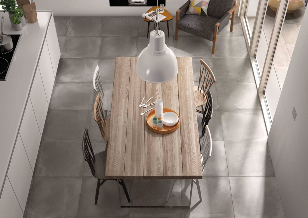 Keittiön laattalattia on käytännöllinen ja kaunis valinta. Kuvassa Riverside-laatta.